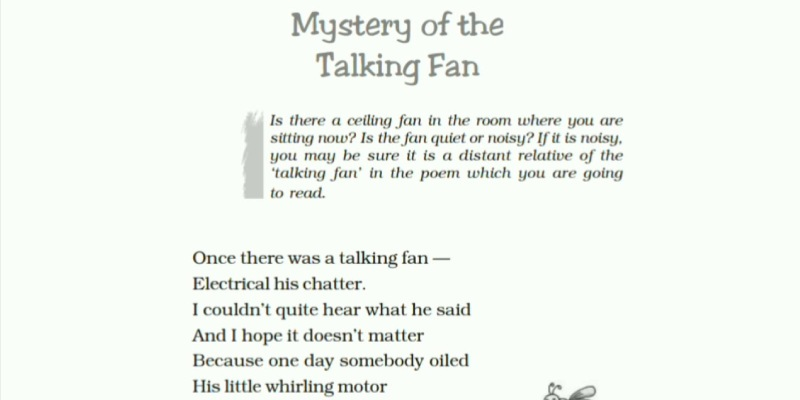 Quiz About Mystery Of The Talking Fan Poem For 7th Grade Student